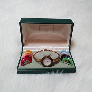 Vintage Gucci interchangeable bezel gold watch